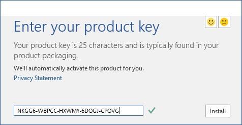 Entrez la clé de produit Microsoft Office 2016