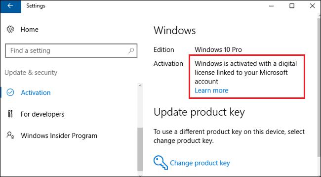Windows est activé avec une licence numérique liée à votre compte Microsoft.