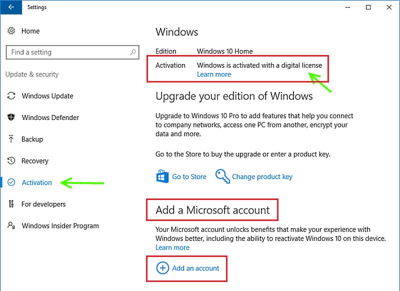 Windows est activé avec une licence numérique