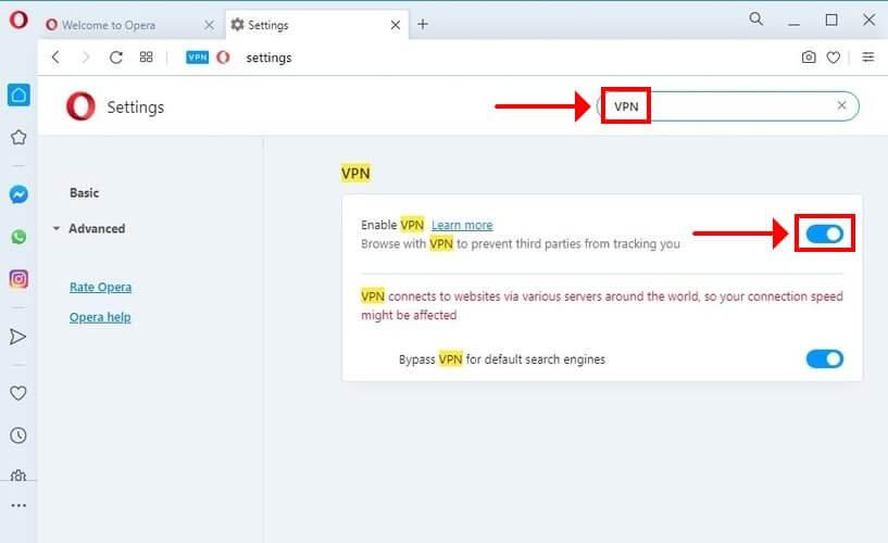 comment activer le VPN dans Opera
