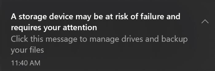 Un périphérique de stockage peut présenter un risque de panne et nécessite votre attention