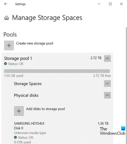 Ajouter des lecteurs au pool de stockage pour les espaces de stockage via l'application Paramètres