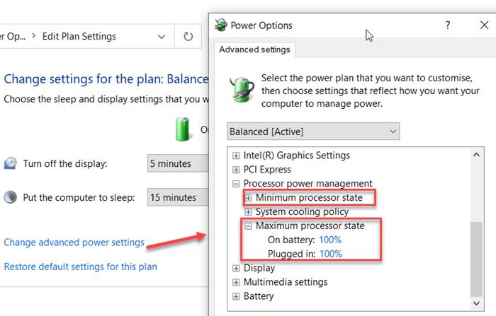 Comment modifier l'état d'alimentation du processeur lorsqu'il est sur batterie à l'aide de la ligne de commande powercfg dans Windows 10