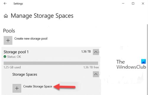 Créer un espace de stockage pour le pool de stockage via l'application Paramètres