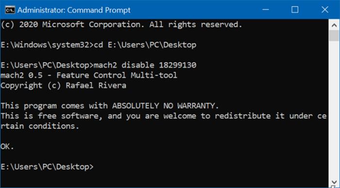 Désactiver l'en-tête des paramètres Windows 10 pic1