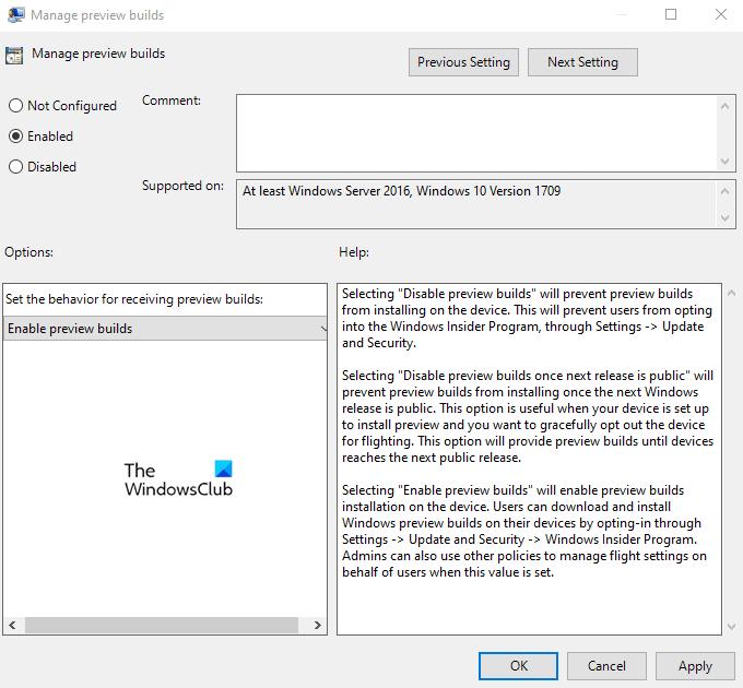 Désactiver les paramètres du programme Windows Insider dans Windows 10