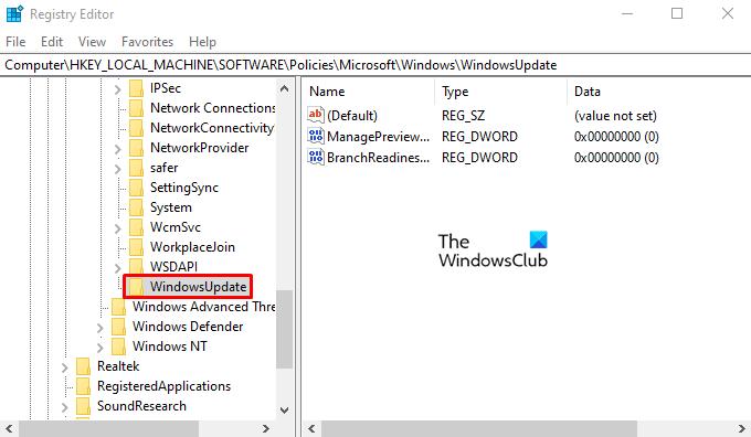 Désactiver les paramètres du programme Windows Insider