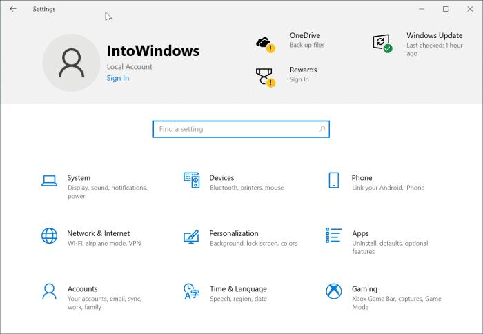 Désactiver l'en-tête des paramètres dans Windows 10 pic1