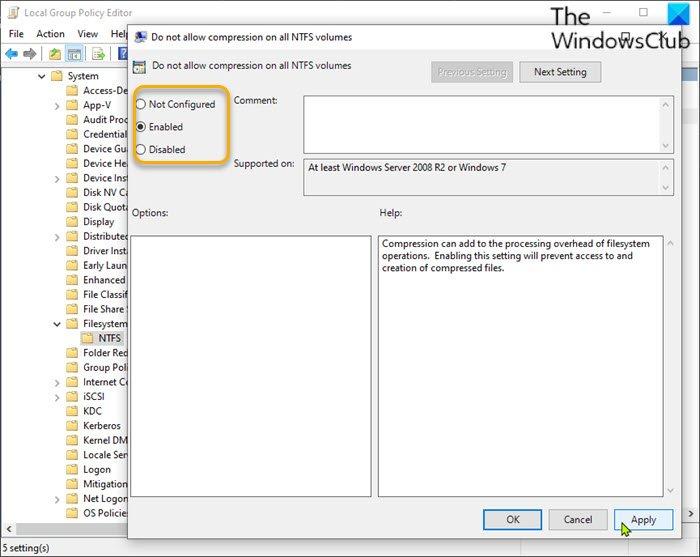 Activer ou désactiver la compression de fichiers NTFS via l'éditeur de stratégie de groupe local