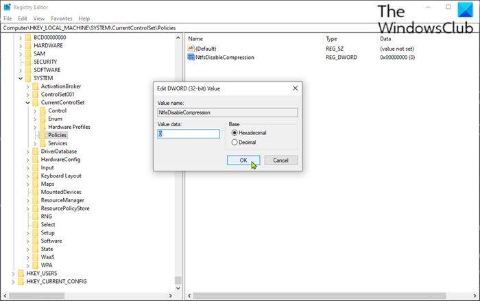 Activer ou désactiver la compression de fichiers NTFS via l'éditeur de registre