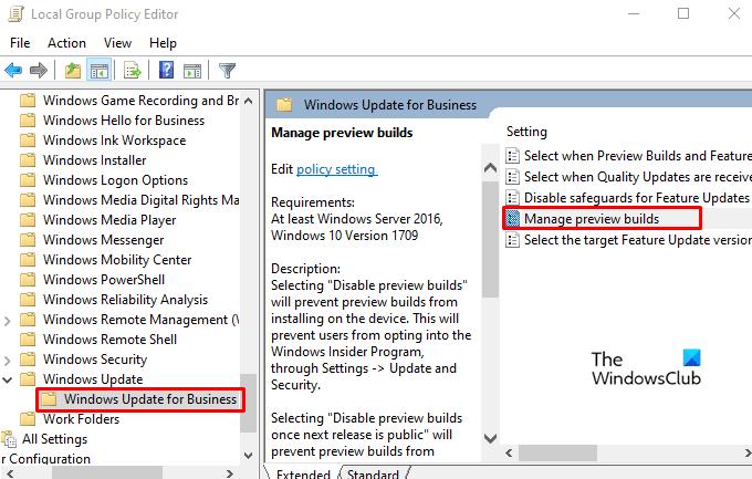 Comment désactiver les paramètres du programme Windows Insider dans Windows 10