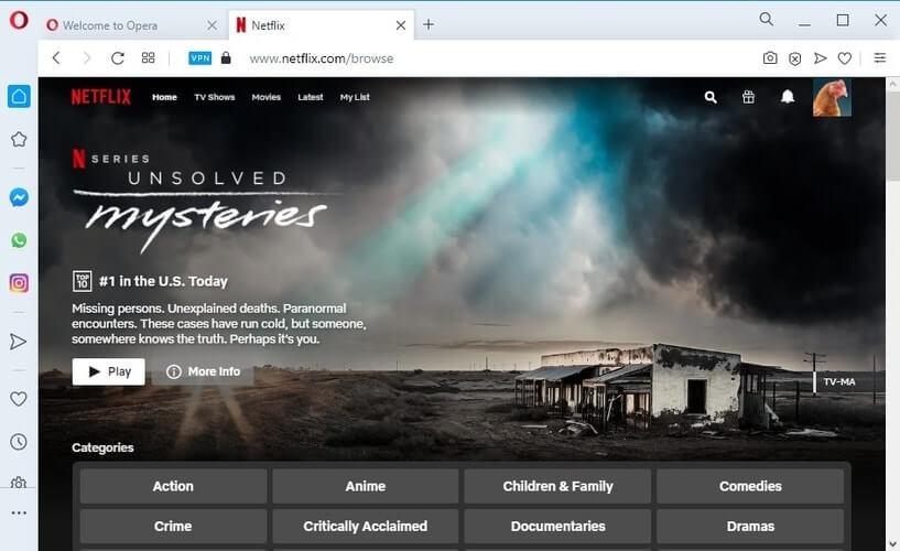 regardez Netflix US avec Opera VPN