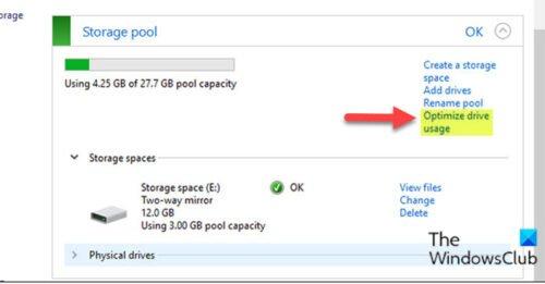 Optimiser l'utilisation du disque dans le pool de stockage pour les espaces de stockage via le panneau de configuration