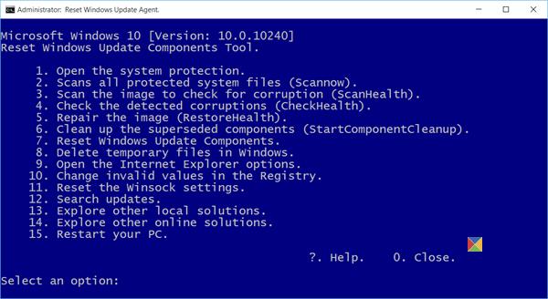 Réinitialiser l'outil des composants Windows Update