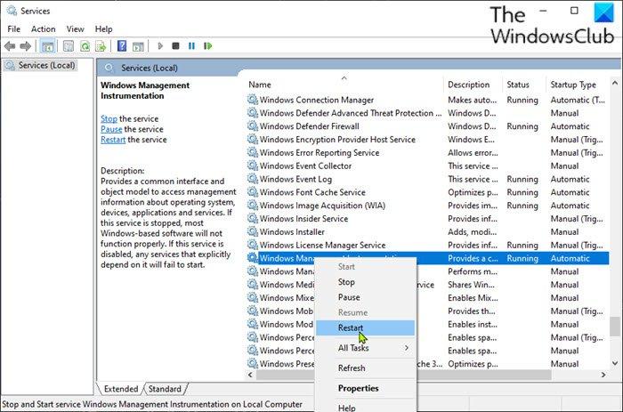 Redémarrez le service WMI (Windows Management Instrumentation)