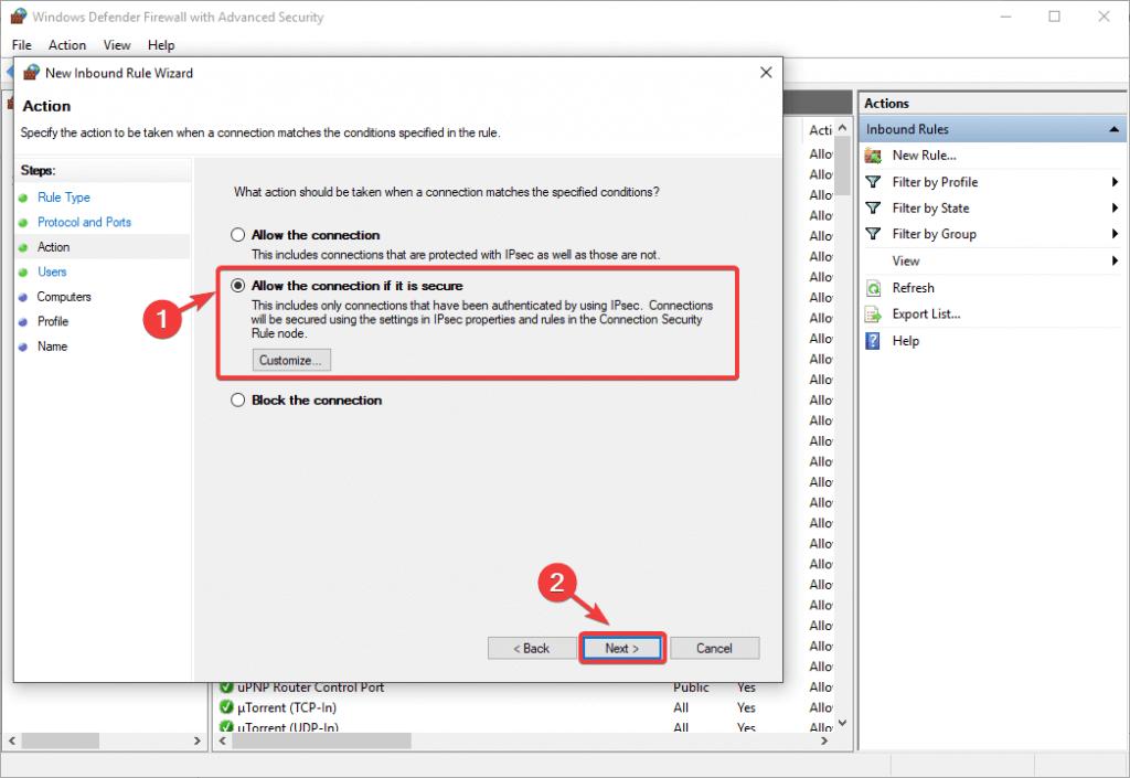 autoriser la connexion si elle est sécurisée l2tp vpn bloqué