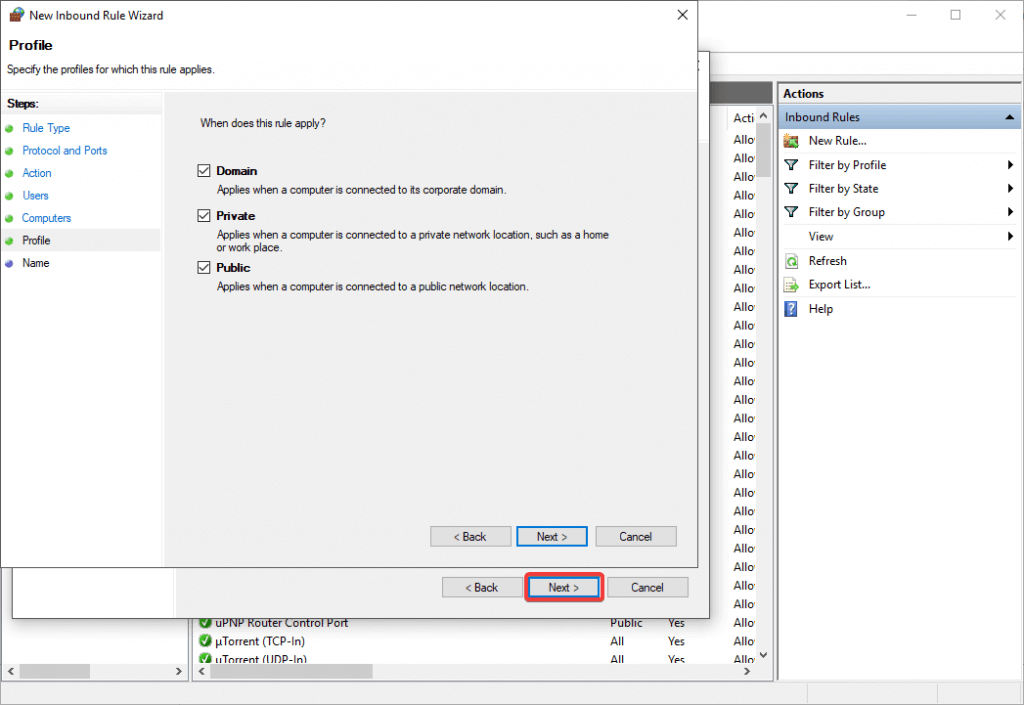 fenêtre de profil l2tp vpn bloquée
