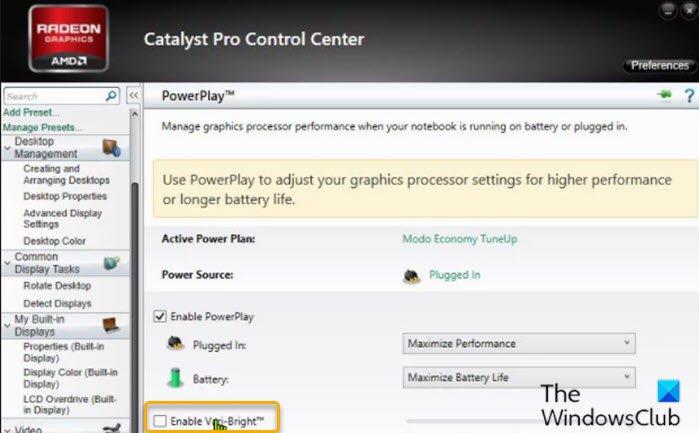 Désactivez le paramètre Vari-Bright dans Catalyst Control Center