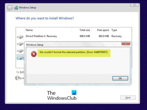 Nous n'avons pas pu formater la partition sélectionnée - Erreur 0x80070057
