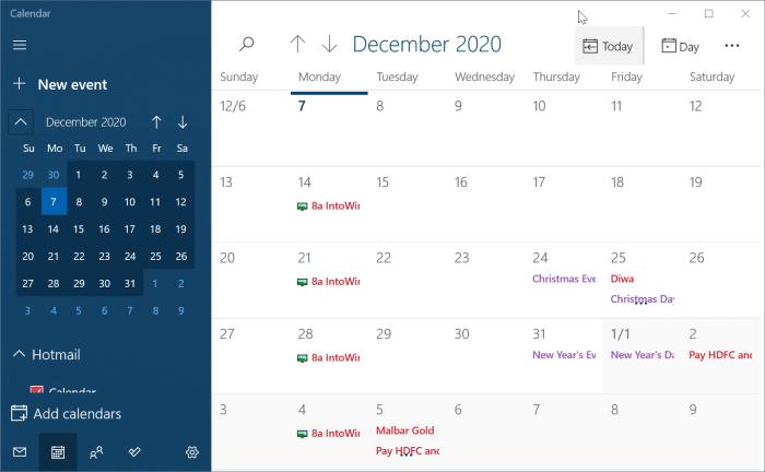 Calendrier Windows 10