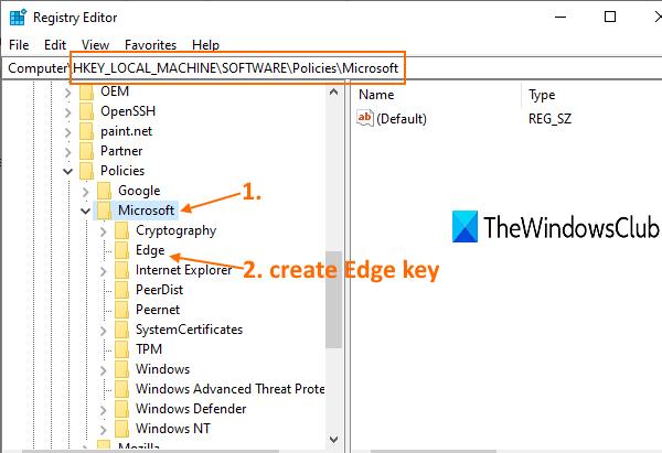accéder à la clé Microsoft, puis créer la clé Edge