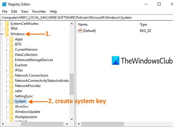 accéder à la clé Windows et créer une clé système en dessous