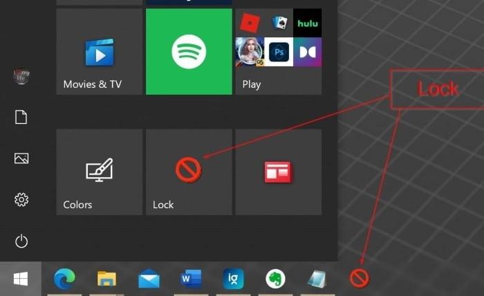 ajouter l'option de verrouillage au démarrage et à la barre des tâches dans Windows 10 pic01