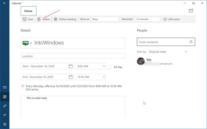 ajouter ou supprimer des rappels dans le calendrier Windows 10 pic10