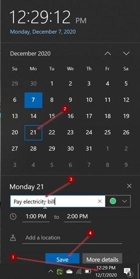 ajouter ou supprimer des rappels dans le calendrier Windows 10 pic12