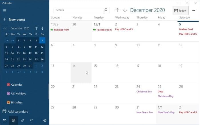 ajouter ou supprimer des rappels dans le calendrier Windows 10 pic2