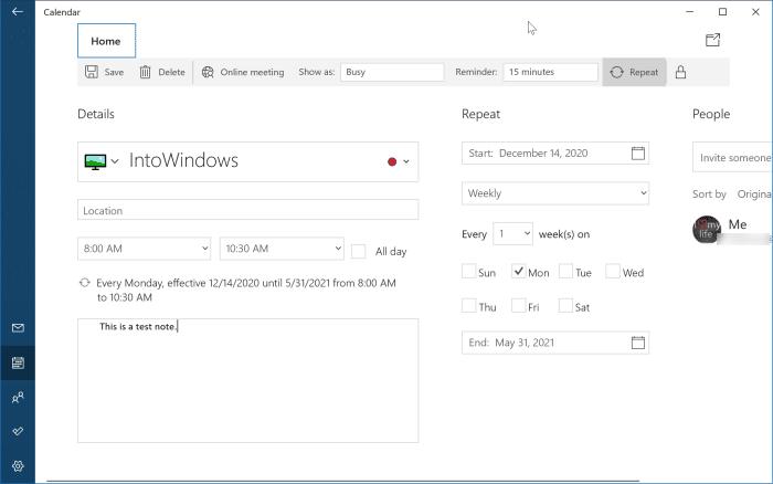 ajouter ou supprimer des rappels dans le calendrier Windows 10 pic7