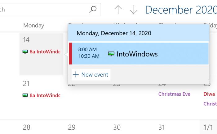 ajouter ou supprimer des rappels dans le calendrier Windows 10 pic9