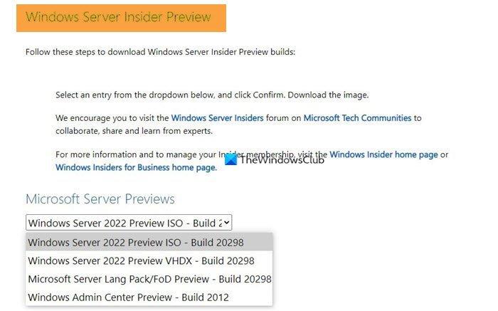 Où télécharger les builds Windows Server Insider