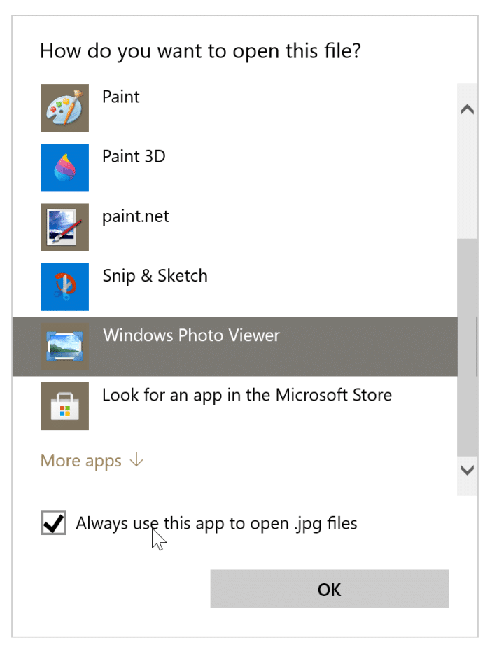 option d'aperçu manquante dans le menu contextuel de Windows 10 pic3