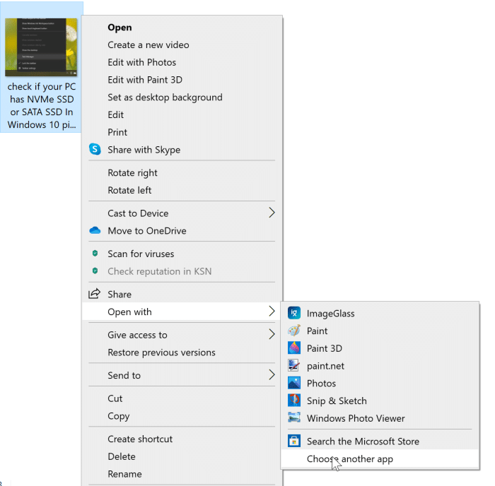 option d'aperçu manquante dans le menu contextuel de Windows 10 pic5