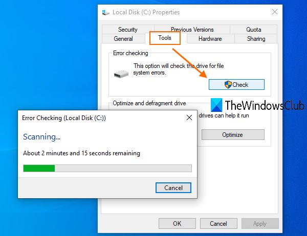 exécutez l'outil CHKDSK pour corriger l'erreur de sauvegarde Windows 0x8100002F