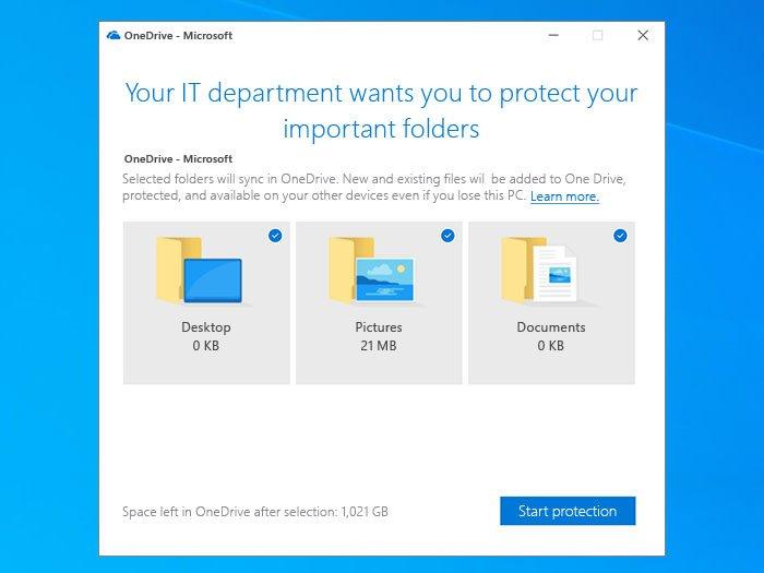 Inviter les utilisateurs à déplacer les dossiers connus de Windows vers OneDrive