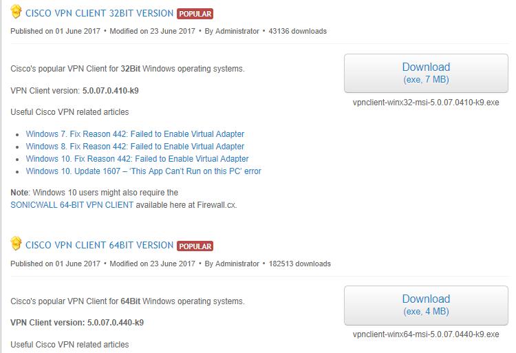 télécharger Cisco VPN Cisco VPN ne s'installe pas