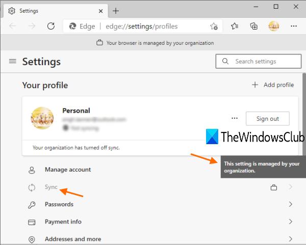 la fonction de synchronisation pour tous les profils utilisateur dans Microsoft Edge est désactivée
