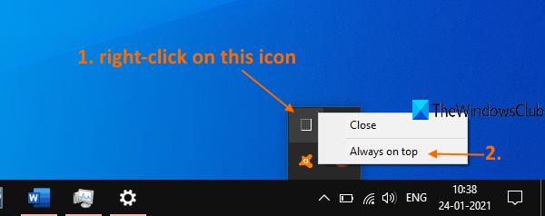 utiliser l'icône de notification du gestionnaire de tâches