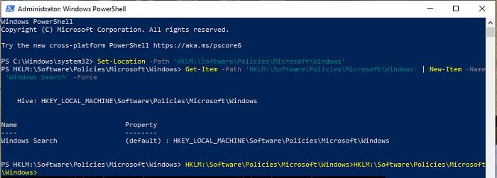 Utilisez PowerShell pour modifier les valeurs du registre
