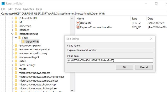 Ajouter un registre d'extension de fichier URL