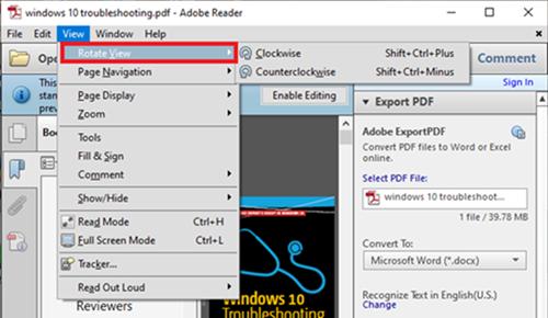 Option de rotation Adobe