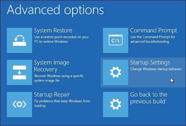 Restauration du système avec options avancées