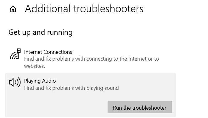 Dépanneurs audio Windows