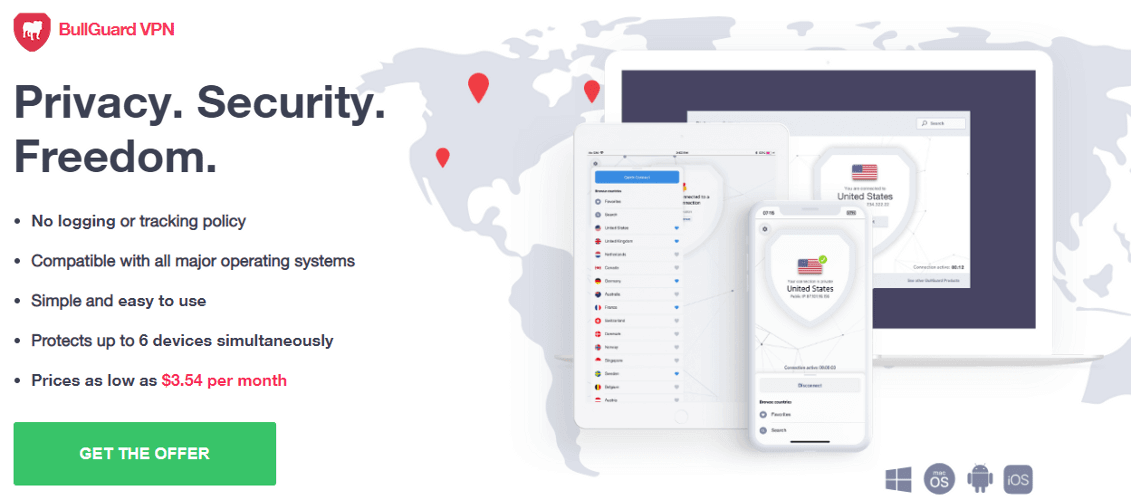 BullGuard VPN est l'une des meilleures applications VPN