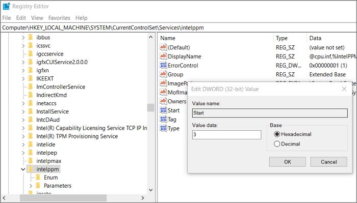 Modifier la valeur de registre Intelppm