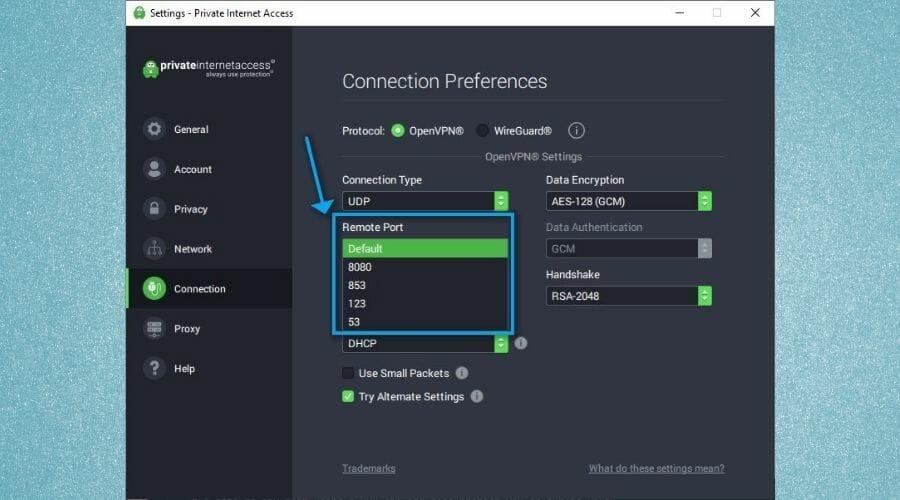 Changer de port VPN PIA