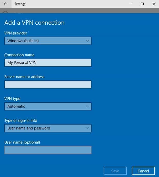 nom de connexion VPN pour ordinateur portable Windows 10