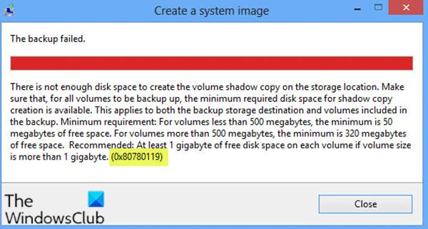 Erreur d'espace disque 0x80780119 lors de la création de l'image système